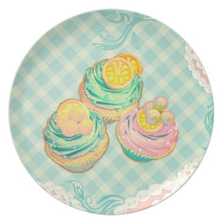 cupcakes with pattern in cute colours melamine plate