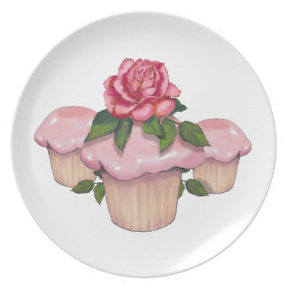 Cupcakes with Pink Icing and Rose, Original Art Dinner Plates