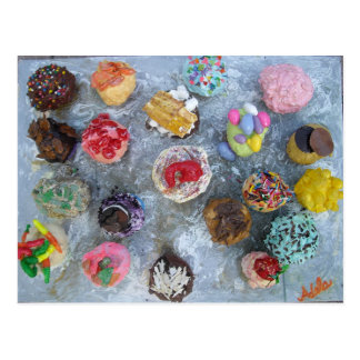 cupcakes with toppings sprinkles art painting postcard