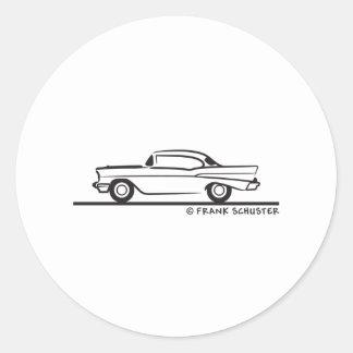 Cupé 1957 de Chevrolet Hardtop Pegatina Redonda