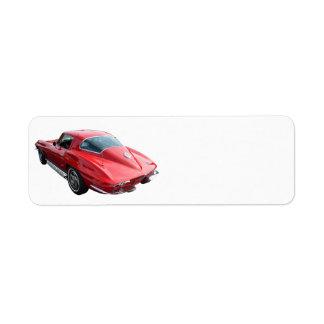 Cupé clásico del Corvette Etiquetas De Remite