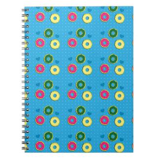 Cuper cute doughnuts of different colours pattern notebook