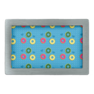 Cuper cute doughnuts of different colours pattern rectangular belt buckle