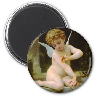 Cupid and butterfly by Bouguereau 2 Inch Round Magnet