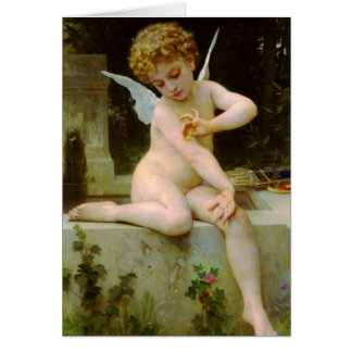 Cupid and butterfly by Bouguereau Card