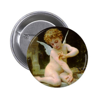 Cupid and butterfly by Bouguereau Pinback Button