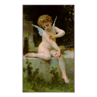Cupid and butterfly by Bouguereau Posters