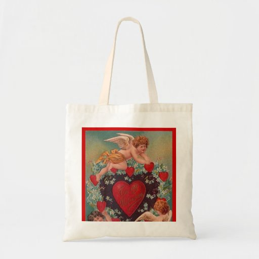 Cupid and Friends Vintage Valentine Canvas Bag