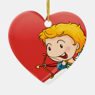 Cupid and heart Double-Sided heart ceramic christmas ornament