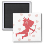 Cupid and Hearts 2 Inch Square Magnet