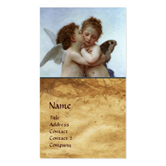 Cupid and Psyche as Children MONOGRAM Parchment Double-Sided Standard Business Cards (Pack Of 100)