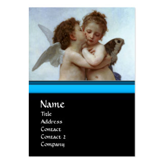 Cupid and Psyche as Children MONOGRAM Sapphire Business Card Template