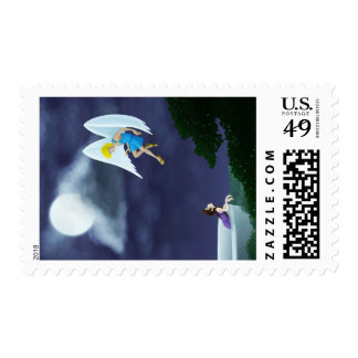 Cupid and Psyche in the Moonlight Postage Stamp
