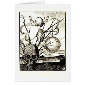 Cupid and the Skull Tree Greeting Card
