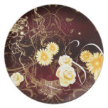 Cupid and Yellow Flowers Party Plate
