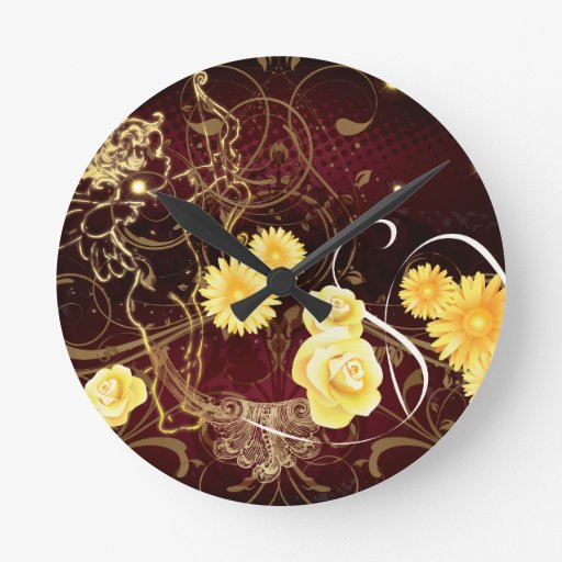 Cupid and Yellow Flowers Round Wall Clock