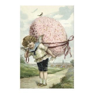 Cupid Angel Easter Egg Floral Flowers Bird Canvas Print
