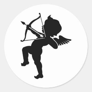 Cupid - arco de los Cupids y flecha del amor Pegatina Redonda