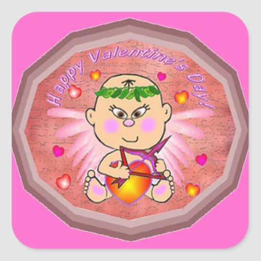 Cupid Asian Baby Square Stickers
