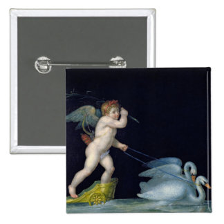 Cupid being led by a pair of swans (oil on panel) 2 inch square button
