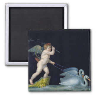 Cupid being led by a pair of swans (oil on panel) 2 inch square magnet