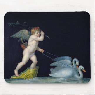 Cupid being led by a pair of swans (oil on panel) mouse pad