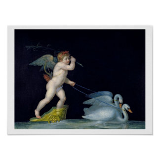 Cupid being led by a pair of swans (oil on panel) poster