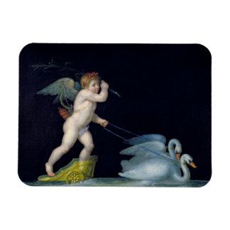Cupid being led by a pair of swans (oil on panel) rectangular photo magnet