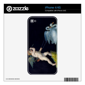 Cupid being led by a pair of swans (oil on panel) iPhone 4 skin