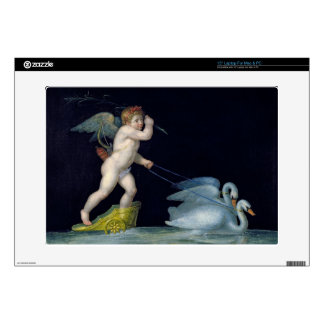 Cupid being led by a pair of swans (oil on panel) skin for laptop
