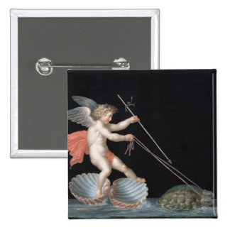 Cupid being led by Tortoises (oil on panel) 2 Inch Square Button