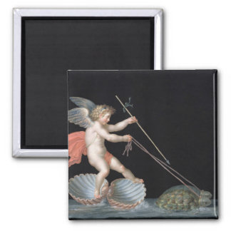 Cupid being led by Tortoises (oil on panel) 2 Inch Square Magnet
