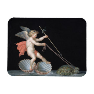 Cupid being led by Tortoises (oil on panel) Rectangular Photo Magnet
