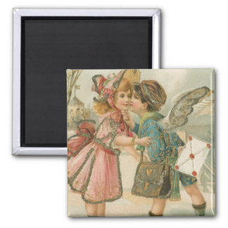 Cupid Boy and Girl in Pink Valentine 2 Inch Square Magnet