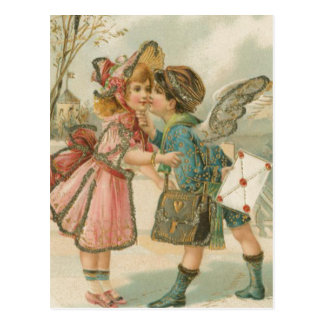 Cupid Boy and Girl in Pink Valentine Postcard