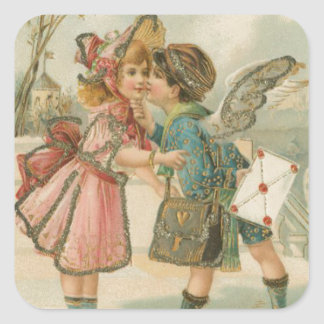 Cupid Boy and Girl in Pink Valentine Square Sticker