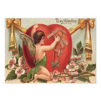 Cupid Broken Heart Patching Flowers Card