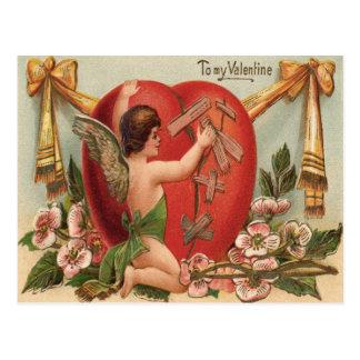 Cupid Broken Heart Patching Flowers Postcard