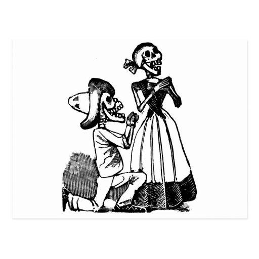 Cupid Calavera, 1900s esqueléticos de los amantes  Tarjeta Postal