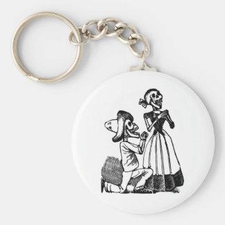 Cupid Calavera, Skeleton Lovers c. 1900s Basic Round Button Keychain