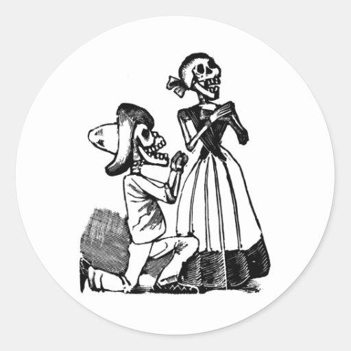 Cupid Calavera, Skeleton Lovers c. 1900s Classic Round Sticker