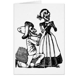 Cupid Calavera, Skeleton Lovers c. 1900s Greeting Card