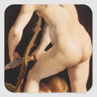 Cupid Carving a Bow, 1533/34 Square Sticker