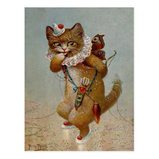 Cupid Cat Vintage early 1900's Postcard