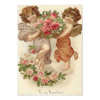Cupid Cherub Angel Basket Roses Wedding Invitation