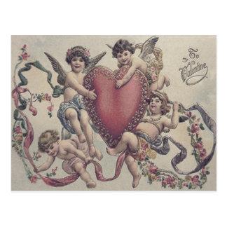 Cupid Cherub Angel Heart Flowers Postcard
