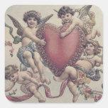 Cupid Cherub Angel Heart Flowers Square Sticker