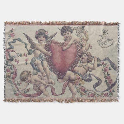 Cupid Cherub Angel Heart Flowers Throw