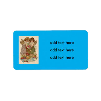 Cupid Cherub Angel Rose Forget-Me-Not Label
