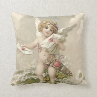 Cupid Cherub Angel Valentine Daisy Throw Pillow